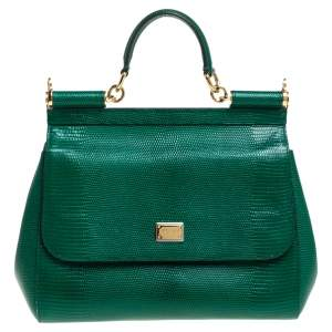 Dolce & Gabbana Green Lizard Embossed Leather Medium Miss Sicily Top Handle Bag