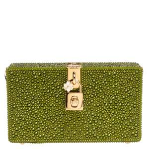 Dolce & Gabbana Green Crystal Embellished Satin Box Bag