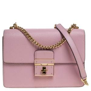 Dolce and Gabbana Pink Leather Small Rosalia Shoulder Bag