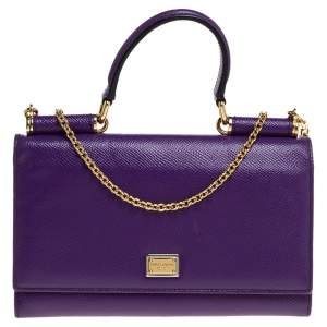 Dolce and Gabbana Purple Leather Sicily Wallet on Chain