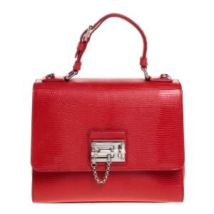 Dolce & Gabbana Red Lizard Embossed Leather Medium Miss Monica Top Handle Bag
