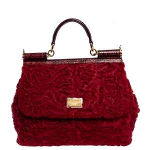 Dolce & Gabbana Red Calfhair and Python Medium Miss Sicily Top Handle Bag
