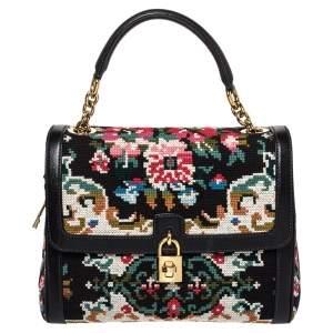 Dolce & Gabbana Black Cross Stitch Fabric and Leather Padlock Top Handle Bag
