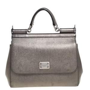 Dolce & Gabbana Metallic Leather Medium Miss Sicily Top Handle Bag