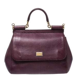 Dolce & Gabbana Burgundy Lizard Embossed Leather Medium Miss Sicily Top Handle Bag