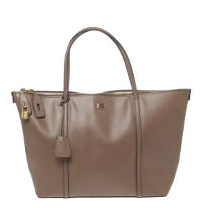 Dolce & Gabbana Dark Beige Leather Miss Escape Tote
