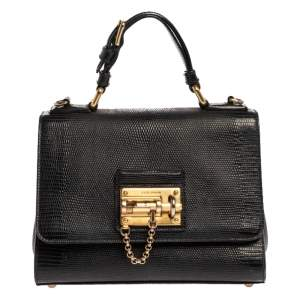 Dolce & Gabbana Black Lizard Embossed Leather Small Miss Monica Top Handle Bag