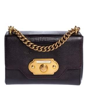 Dolce & Gabbana Dark Burgundy Lizard Embossed Leather Welcome Shoulder Bag