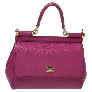 Dolce & Gabbana Fuchsia Leather Small Miss Sicily Top Handle Bag