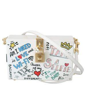 Dolce & Gabbana White Hand Painted Wooden Leather Sicily Bag