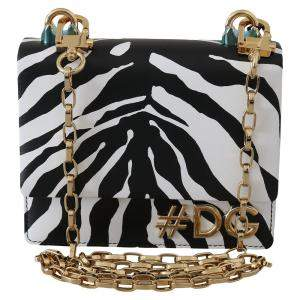 Dolce & Gabbana Black/White Zebra Leather Shoulder Bag