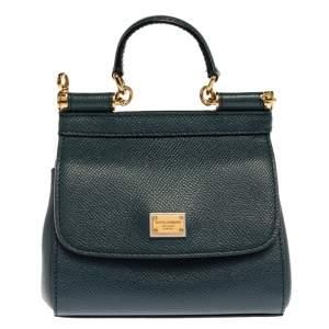 Dolce and Gabbana Dark Teal Leather Mini Miss Sicily Bag