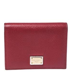 Dolce & Gabbana Red Leather Flap Card Holder