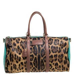 Dolce & Gabbana Multicolor Leopard Print Coated Canvas and Leather Miss Escape Duffel Bag