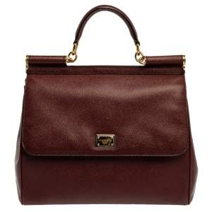 Dolce & Gabbana Burgundy Leather Large Miss Sicily Top Handle Bag