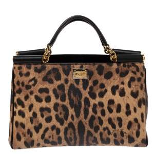 Dolce & Gabbana Leopard Print Leather Miss Sicily Shopper Tote