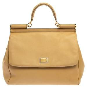 Dolce & Gabbana Beige Leather Large Miss Sicily Top Handle Bag