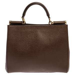 Dolce and Gabbana Brown Grained Leather Sicily East West Top Handle Bag