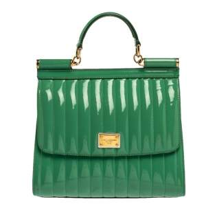 Dolce & Gabbana Green Stripe Patent Leather Medium Sicily Top Handle Bag