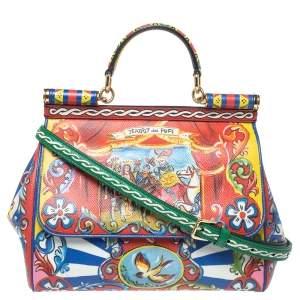 Dolce & Gabbana Multicolor Teatro Dei Pupi Print Leather Medium Miss Sicily Top Handle Bag