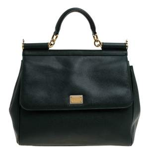 Dolce & Gabbana Deep Green Leather Large Miss Sicily Top Handle Bag