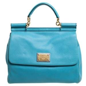 Dolce & Gabbana Light Blue Leather Large Miss Sicily Top Handle Bag