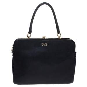 Dolce & Gabbana Black Leather Small Lily Twist Kiss Top Handle Bag