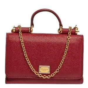 Dolce & Gabbana Red Leather Sicily Von Wallet on Chain