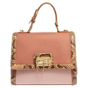 Dolce and Gabbana Old Rose Leather and Python Trim Medium Miss Monica Top Handle Bag