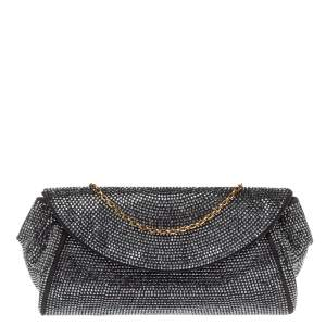 Dolce & Gabbana Black Crystal Embellished Suede Miss Stardust Chain Clutch
