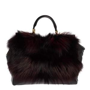 Dolce & Gabbana Black Leather and Fox Fur Large Miss Sicily Top Handle Bag