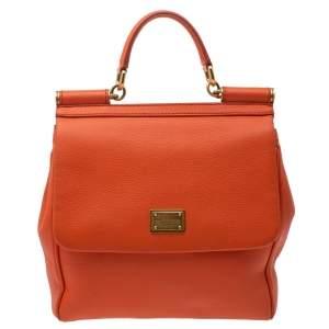 Dolce & Gabbana Orange Leather Medium Miss Sicily Top Handle Bag