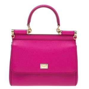 Dolce & Gabbana Fuchsia Leather Miss Sicily Top Handle Bag
