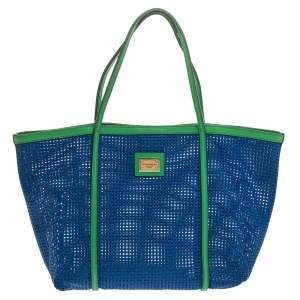 Dolce & Gabbana Blue/Green PVC Mesh and Leather Open Tote