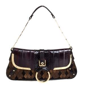 Dolce and Gabbana Brown/Gold Leather, Lame Fabric and Python Ring Handle Shoulder Bag