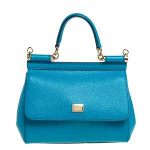 Dolce & Gabbana Turquoise Leather Small Miss Sicily Top Handle Bag