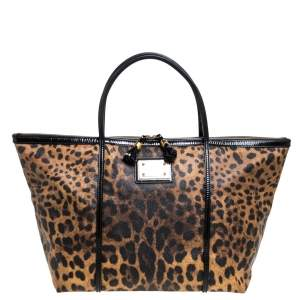 Dolce & Gabbana Black/Brown Leopard Print Coated Canvas and Patent Leather Miss Escape Tote