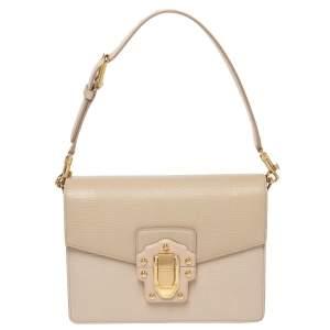 Dolce & Gabbana Beige Lizard Embossed Leather Lucia Shoulder Bag