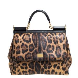 Dolce & Gabbana Brown/Black Leopard Print Coated Canvas and Leather Large Miss Sicily Top Handle Bag