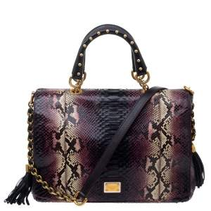 Dolce & Gabbana Burgundy Python Miss Charles Tote