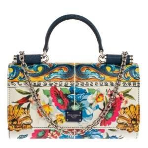 Dolce & Gabbana Multicolor Floral Print Leather Sicily Smartphone Von Bag