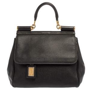 Dolce & Gabbana Black Leather Miss Sicily Top Handle Bag