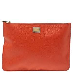 Dolce & Gabbana Orange Leather Clutch
