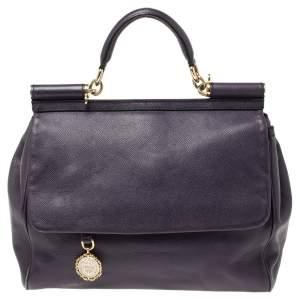 Dolce & Gabbana Purple Leather Large Miss Sicily Top Handle Bag