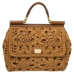 Dolce & Gabbana Brown Crochet Raffia and Leather Large Miss Sicily Top Handle Bag