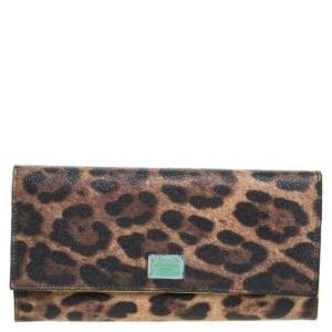 Dolce & Gabbana Brown Leopard Print Leather Dauphine Continental Wallet