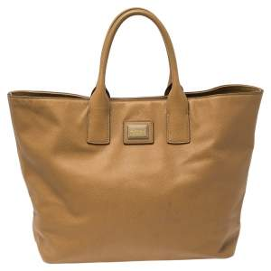 Dolce & Gabbana Tan Grained Leather Open Tote