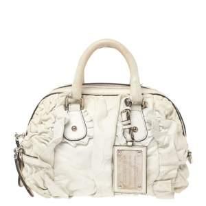 Dolce & Gabbana White Ruffled Leather Miss Rouche Satchel