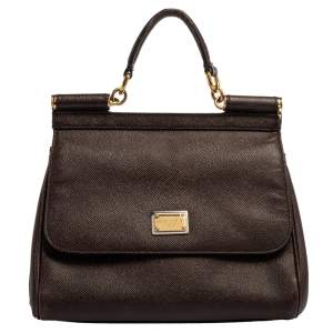 Dolce & Gabbana Dark Brown Leather Medium Miss Sicily Top Handle Bag