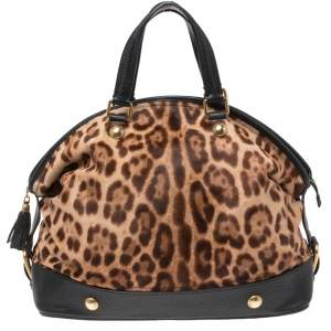 Dolce & Gabbana Brown/Black Leopard Print Calfhair and Leather Satchel